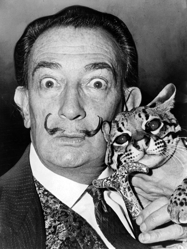 Salvador Dali with his Ocelot Babou