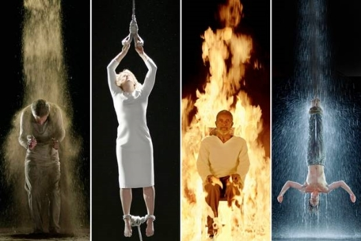 Bill Viola, stills from  Martyrs (Earth, Air, Fire, Water) , 2014