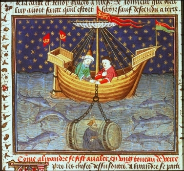 Alexander the Great conquers the Sea in an early submarine in this French manuscript dated c 1445.
