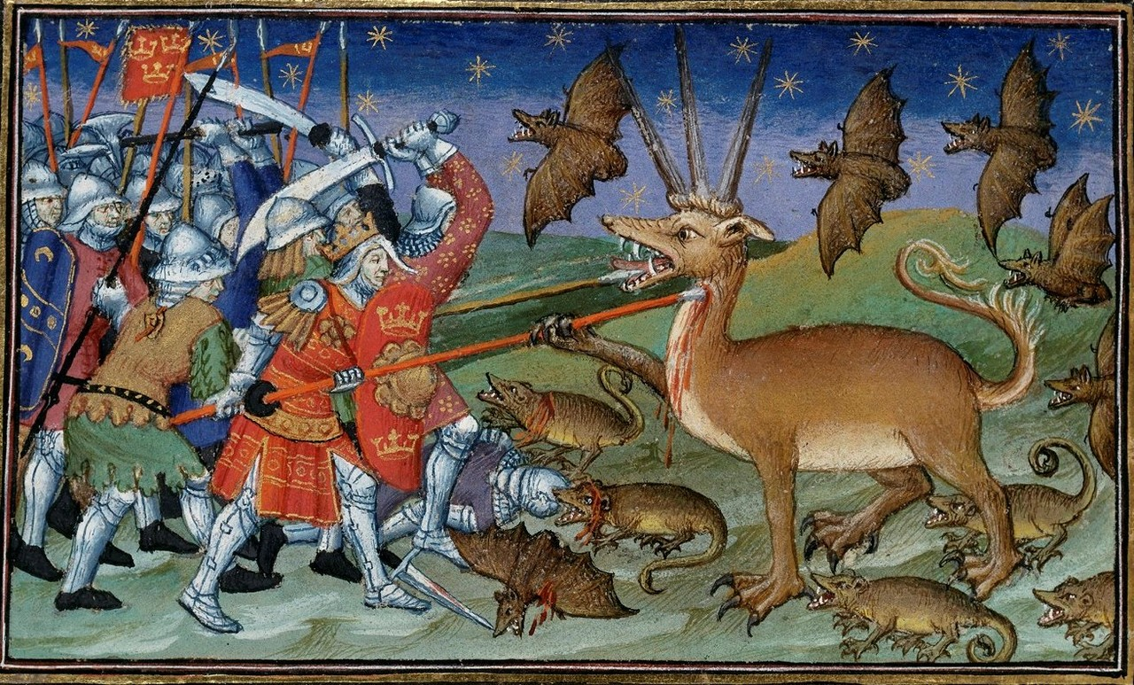 7 alexander vs rats bats and three horned dragon deer c 1420.jpg