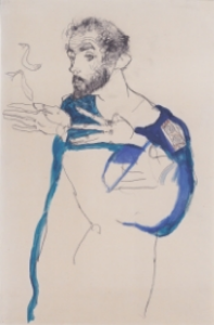 Egon Schiele,  Gustav Klimt in his Blue Painter's Smock , 1913