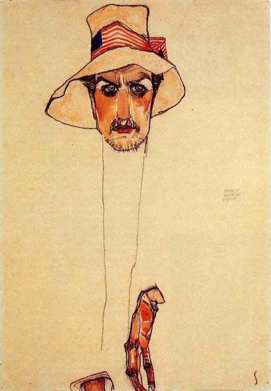3 Egon Schiele - Portrait of a Man with a Floppy Hat (Erwin Dominilk Osen).JPG