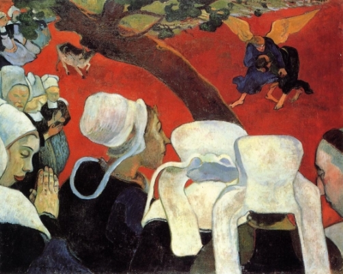 Paul Gauguin,  The Vision After the Sermon (Jacob Wrestling with the Angel) , 1888.