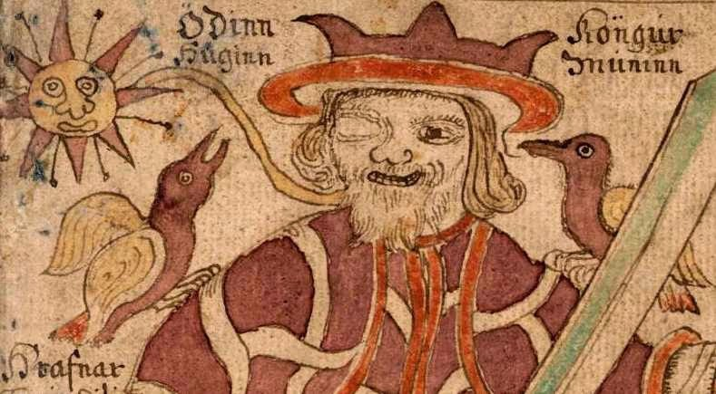 Odin with his two ravens, Thought and Memory.