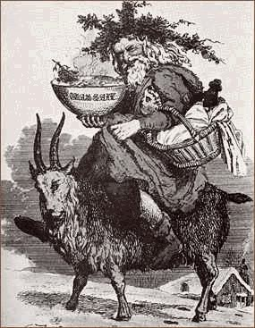 After Christianity was introduced, Saint Nicholas rode on the back of the Yule Goat. Previously, the Yule Goat was a Goat-Man who gave gifts during the Winter Solstice.