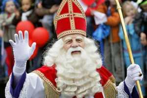 Sinterklaas has Odin's beard but wears St. Nicholas' Bishop Clothing.