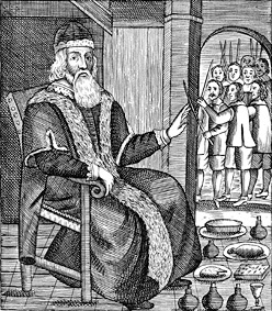 Image from an anonymous pamphlet showing Father Christmas on trial.