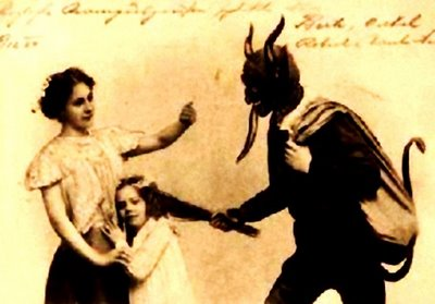 With tongue lolling out, Krampus thirsts for the blood of bad children.