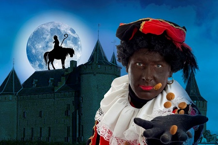 "Zwarte Piet, ""Black Pete,"" is a Dutchman in Black-face."