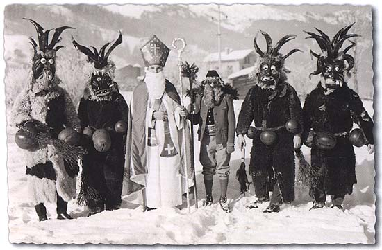 Several Krampus Devilswith a Saint Nicholas and a Knecht Ruprecht.