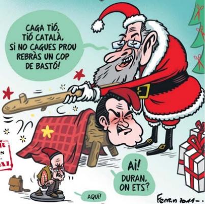 A cartoon featuring both a Caga Tio and a Caganer figure.