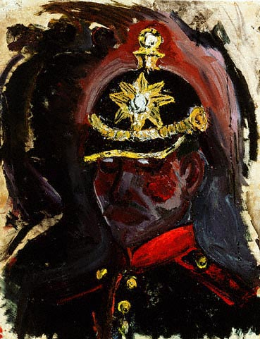 Self Portrait Wearing a Gunner's Helmet , 1914