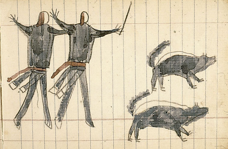 Unknown Artist, Men Chasing Away Skunks