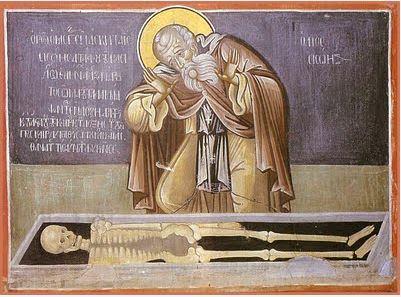 Saint Sisoes Astonished Before Alexander the Great's Bones