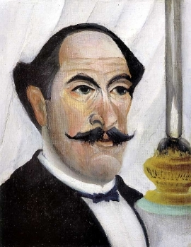 Henri Rousseau,  Self Portrait of the Artist with a Lamp , 1900.