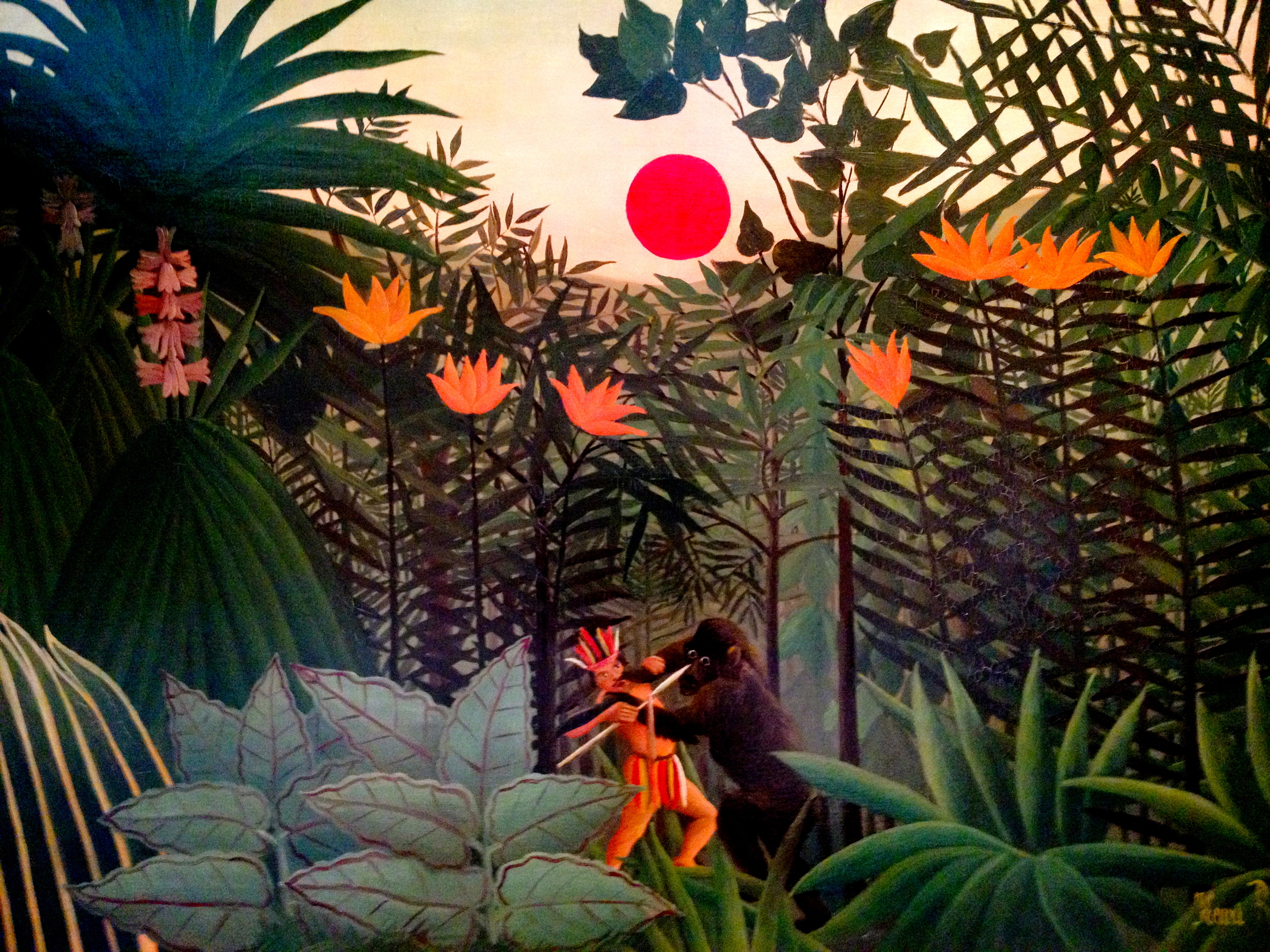 Tropical Landscape (An American Indian Struggling with a Gorilla), 1910