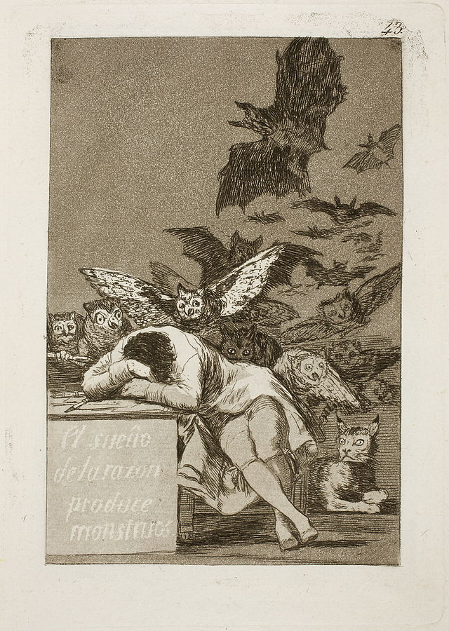 Los Caprichos:  The Sleep of Reason Produces Monsters, 1799