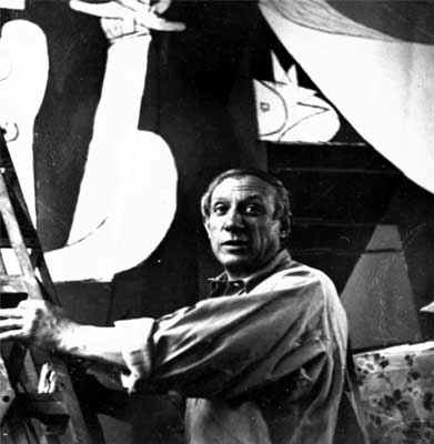 Picasso Painting Guernica, 1937.  Photo by Dora Maar.