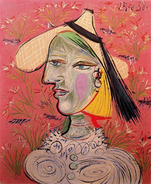 Woman with Straw Hat on Flowery Background, 1938