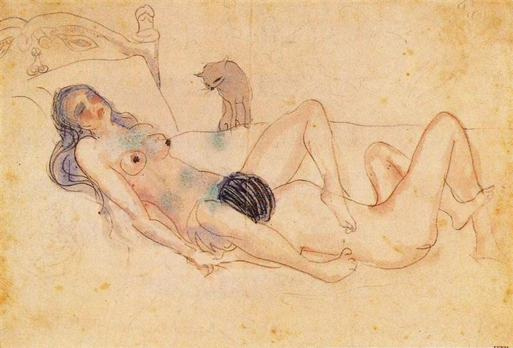Two Nudes and a Cat, 1903
