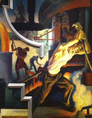 A detail from Thomas Hart Benton's America Today, featuring Pollock as a steel worker, 1930-1931.