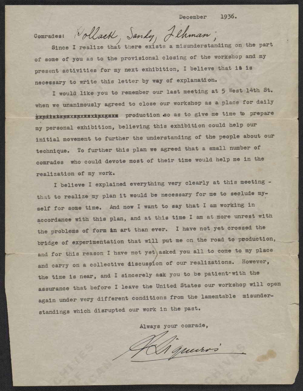 David Alfaro Siqueiros' letter to Jackosn Pollock, Sande Pollock, and Harold Lehman, December of 1936