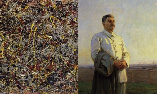 Jackson Pollock's No. 5  (detail), 1948 and Fyodor Savvich Shurpin's  Morning of Our Motherland  (detail), 1946-48.