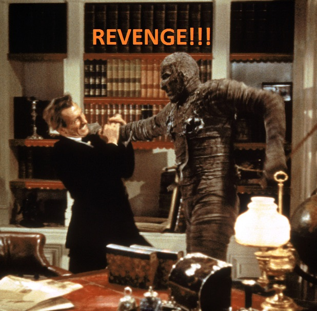 The Mummy gets his Revenge on the Industrialist who Invented Mummy Brown Pigment.