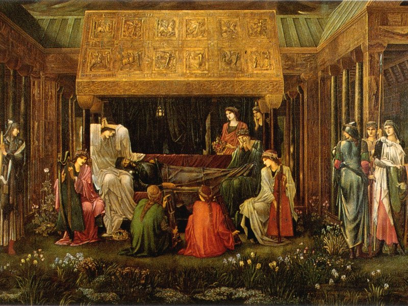 "Edward Burne-Jones' painting, ""The Last Sleep of Arthur in Avalon,"" is thought to use have used a lot Mummy Brown paint."