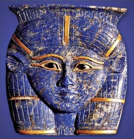 Ancient Egyptian Pendant of the goddess Hathor made of Lapis Lazuli