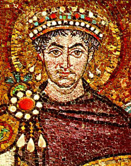 Emperor Justinian of the Byzantine Empire, wearing a cloak of Tyrian Purple