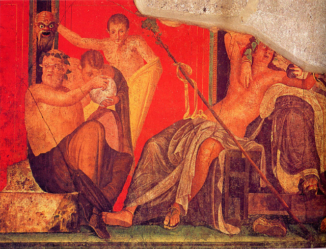 Mural from The Villa of the Mysteries in Pompeii, using Dragon's Blood pigment