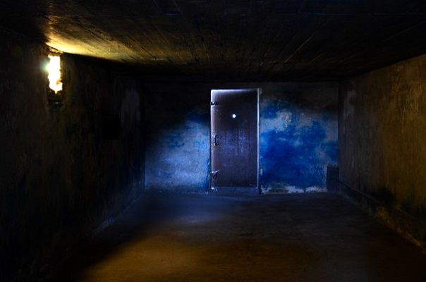 Prussian Blue Zyklon B stains on the walls of the Gas Chamber in Majdanek.