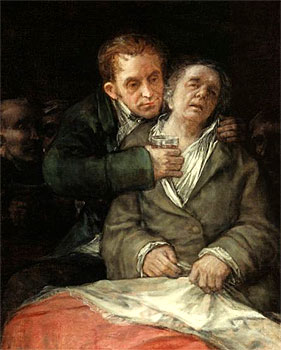"Francisco Goya is another artist who is thought to have suffered ill effects from the use of Lead ""Flake"" White.  Detail from ""Self Portrait with Dr. Arrieta,"" 1820."