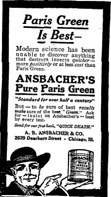 Advert for the use of Paris Green pigment as an insecticide.