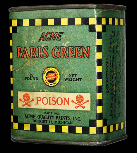 A can of Paris Green pigment to be used as poison.