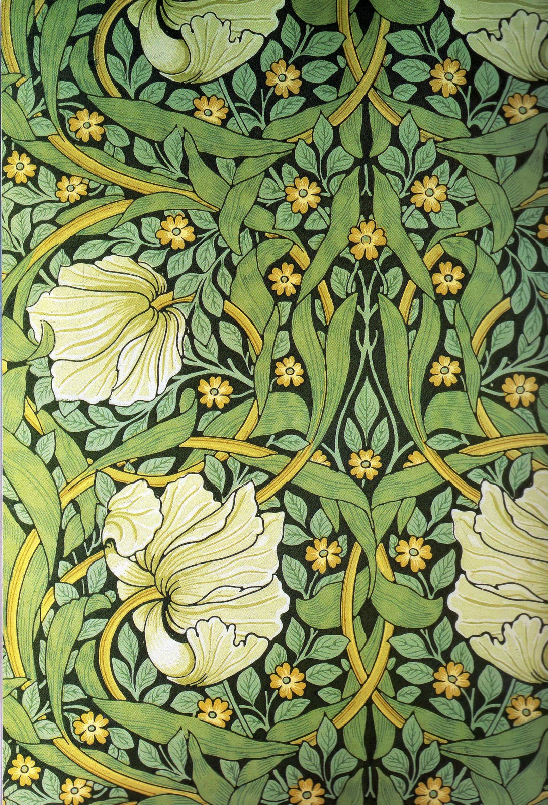 Scheele's Green pigmented wall paper.