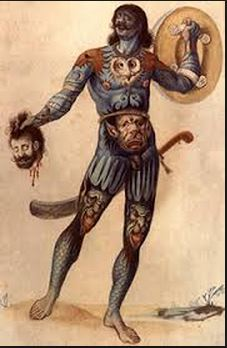 A Pict Warrior, tattooed and covered in Woad pigment.