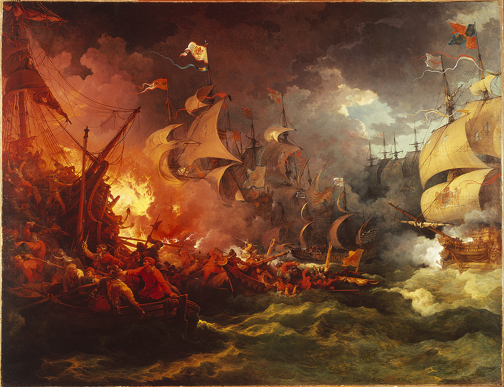 Sea battles were fought to protect the Woad trade.  This is a painting depicting the defeat of the Spanish Armada in 1588.