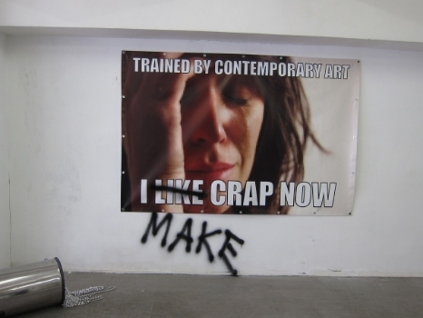 Lam Hoi Sin, installation from  The Crap Show , 2012.  I can support this one.  The communication is clear, if ironic and at least the artist is being honest with himself.