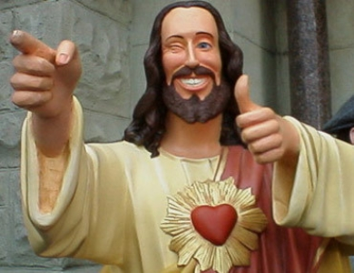 """Buddy Christ"" from the movie  Dogma  (1999)."