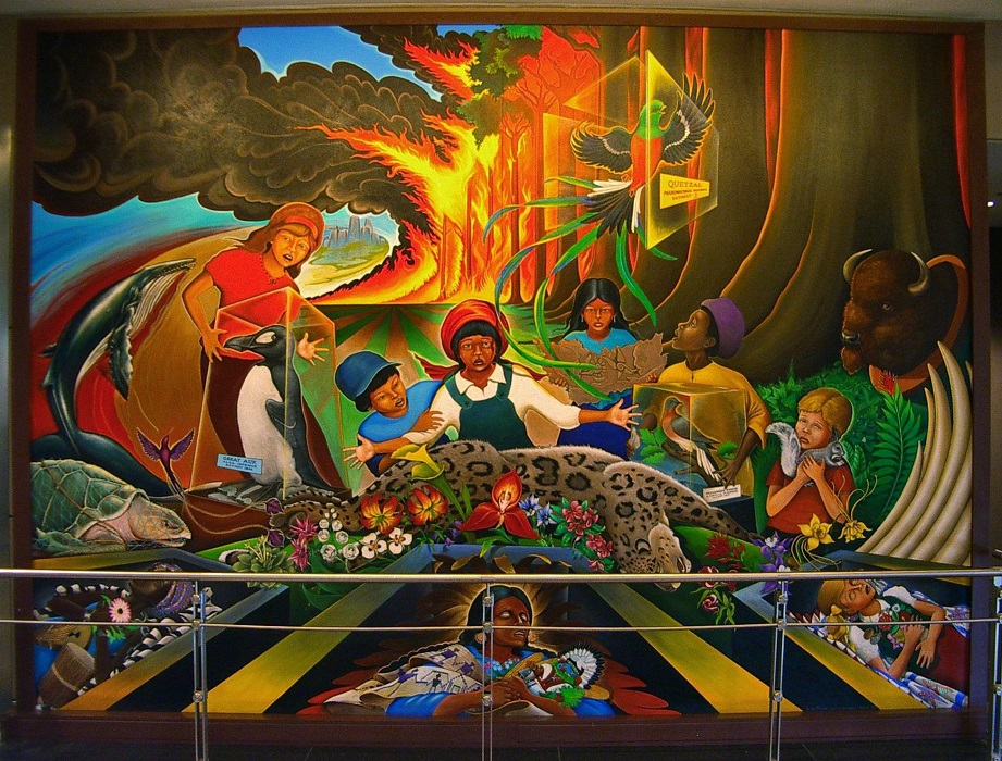 "Detail from Leo Tanguma's mural ""In Peace and Harmony with Nature,"" formerly at Denver International Airport."