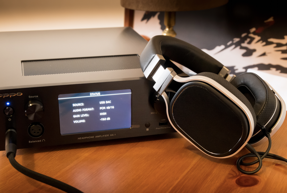 The OPPO PM-2 planar magnetic headphones with the Oppo HA-1 Headphone Amplifier