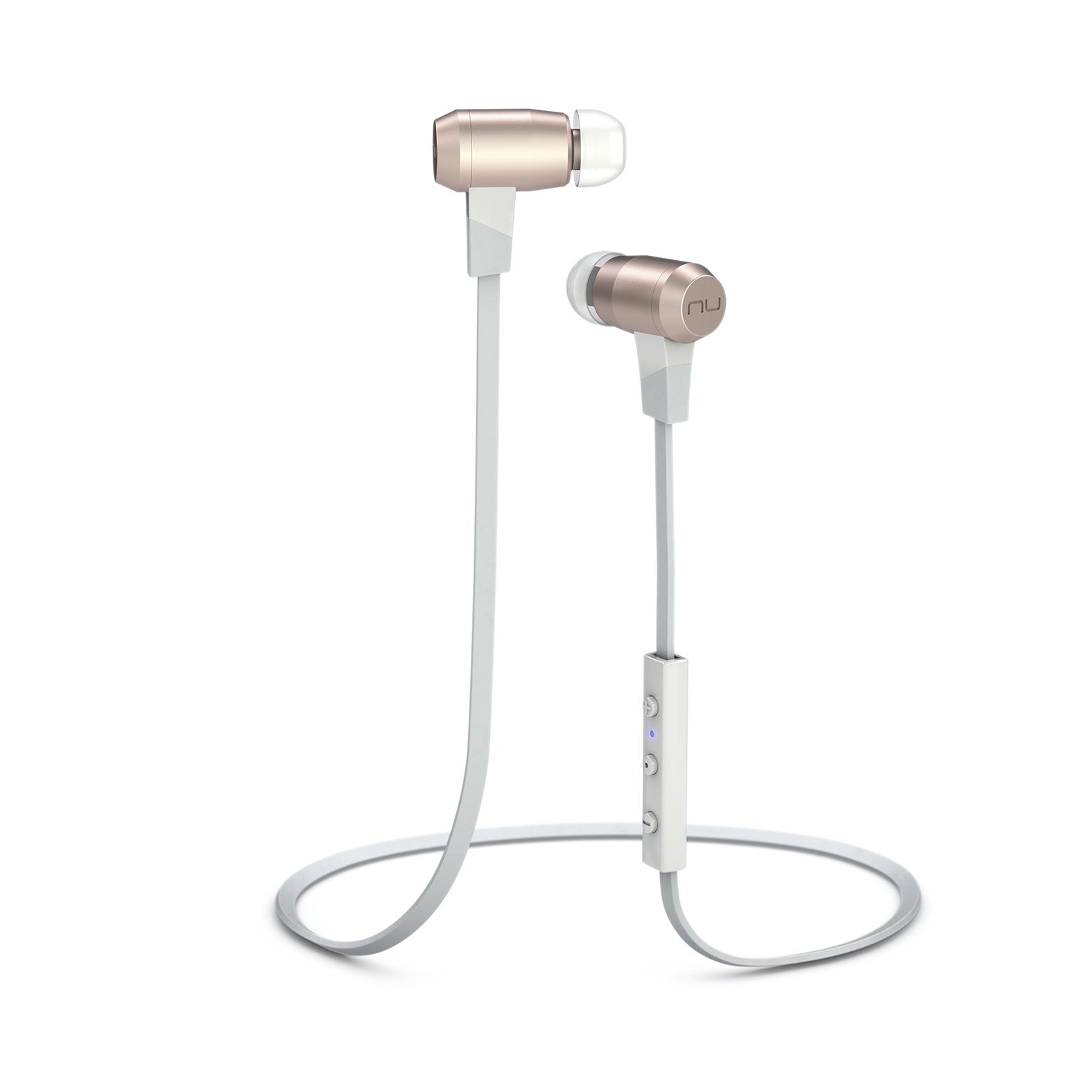 Nuforce BE6 Bluetooth earphones in white with remote.