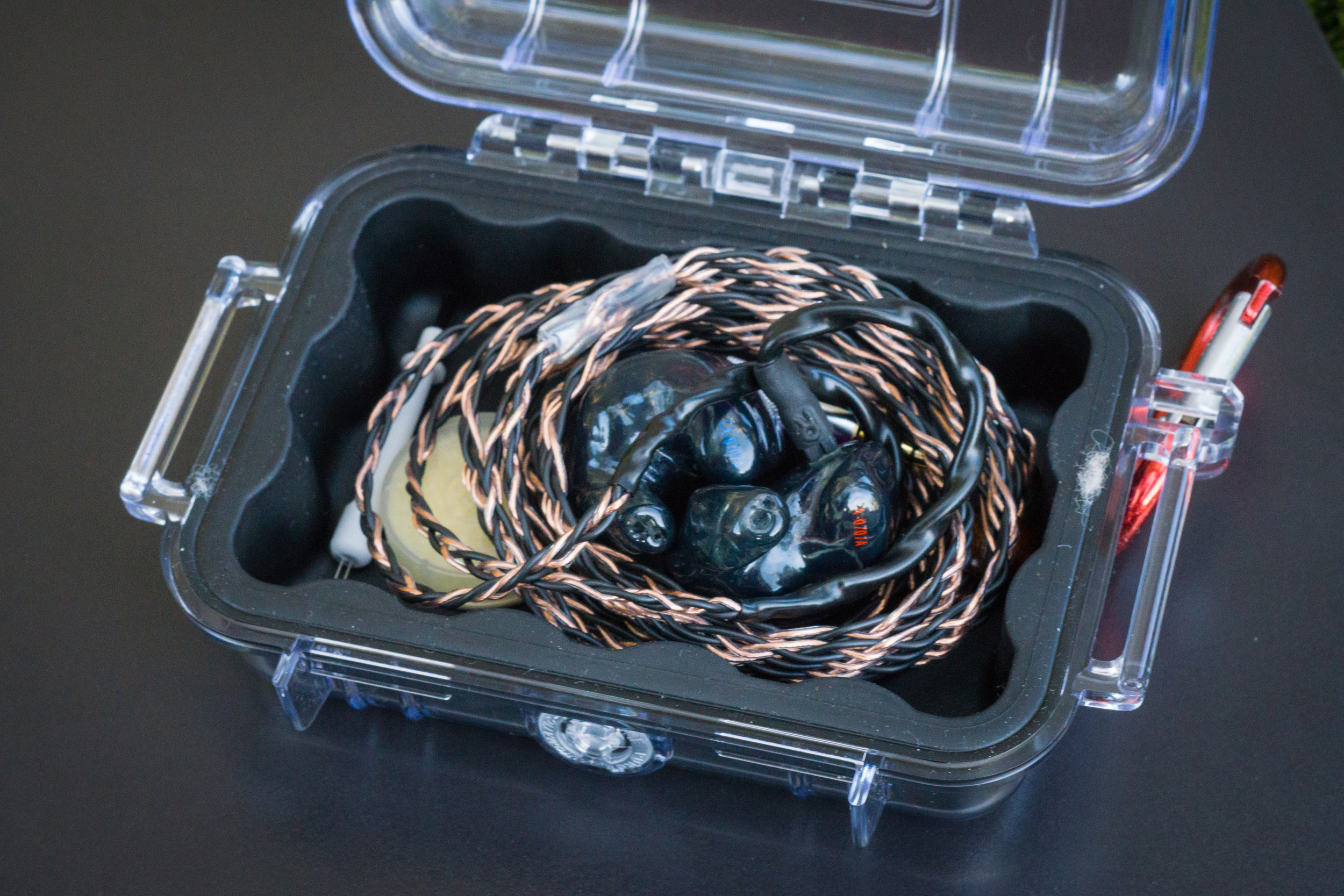 The Custom Art Ei.3 CIEM box is the excellent Pelican case 1010.  The best earphone case you can get.