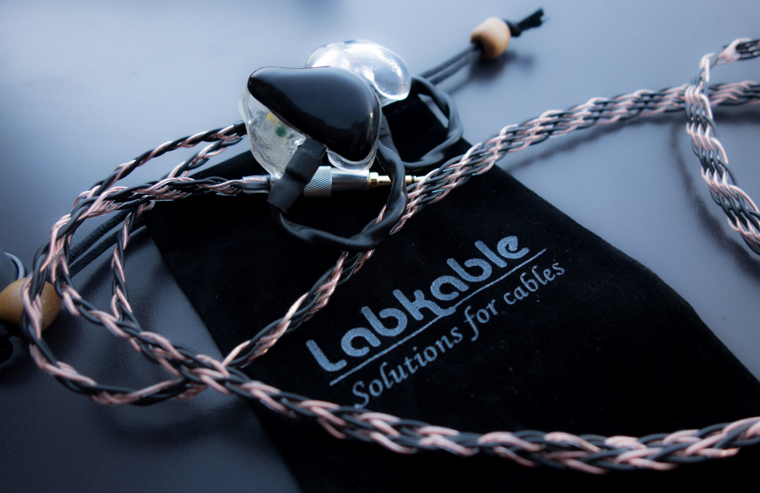 The Labkable takumi master series custom cable for in ear monitors.