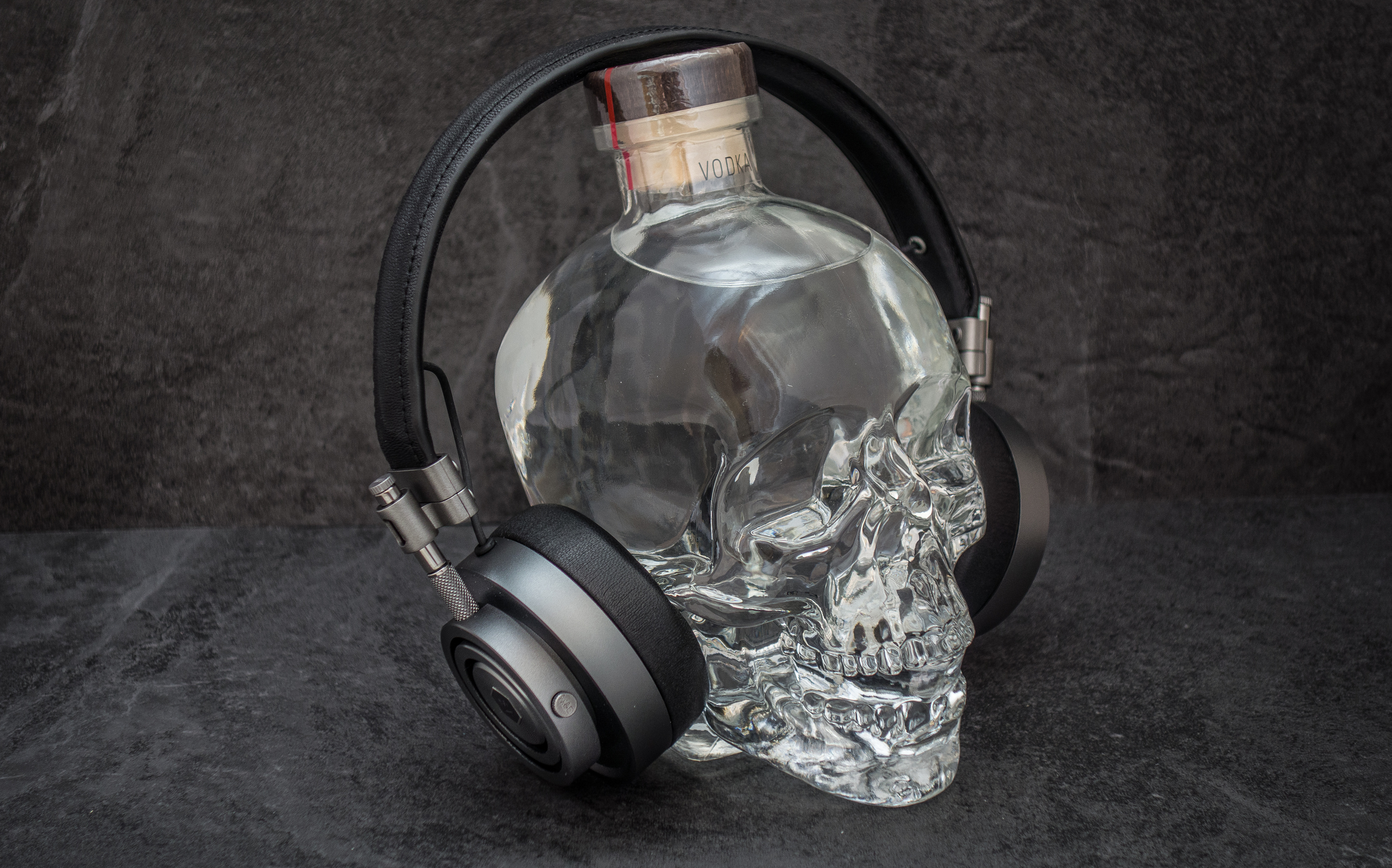 Whats not to like about a bottle of Crystal Skull Vodka and some great sounding headphones.