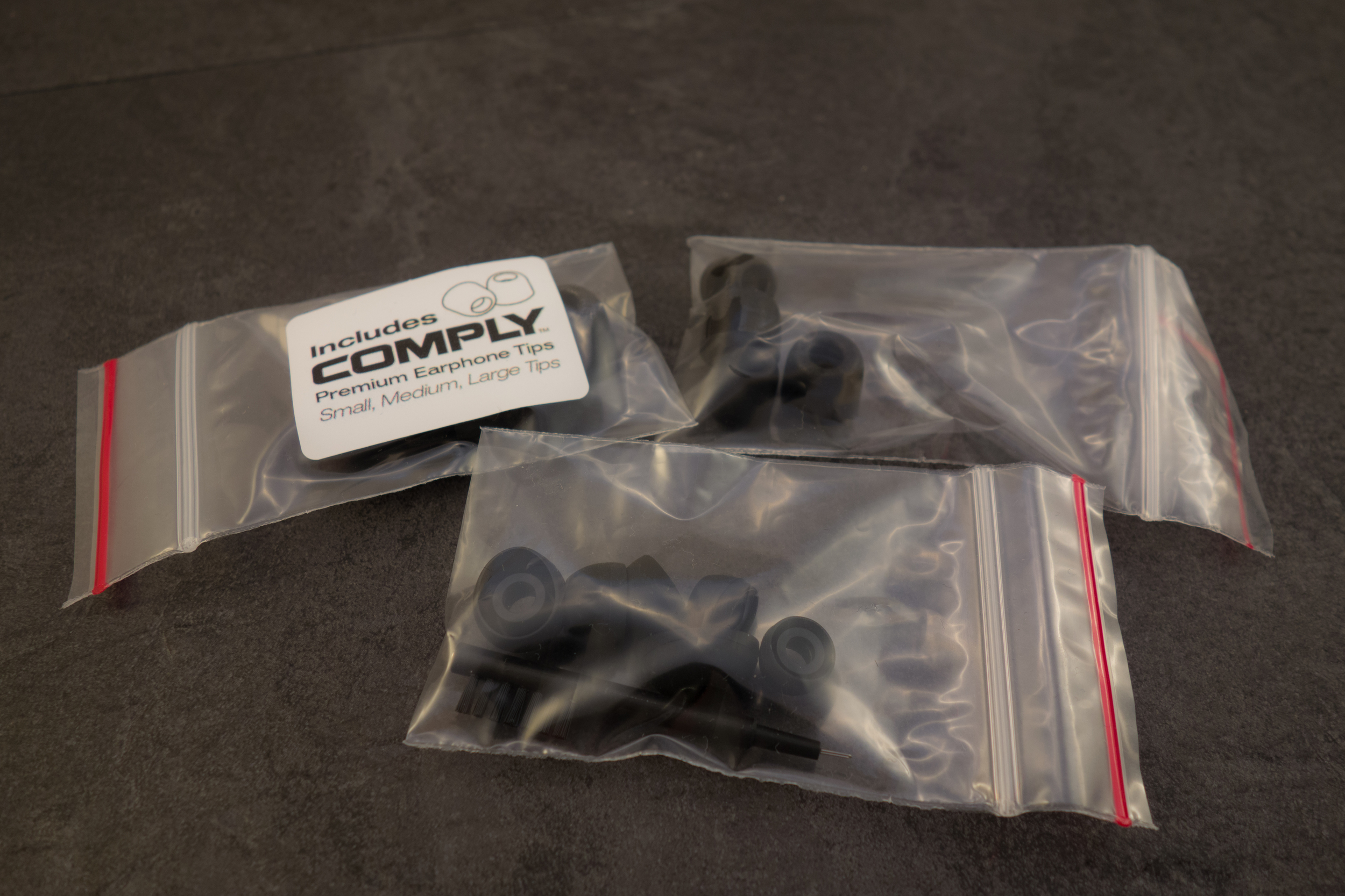 Silicone tips, foam tips and Comply tips.