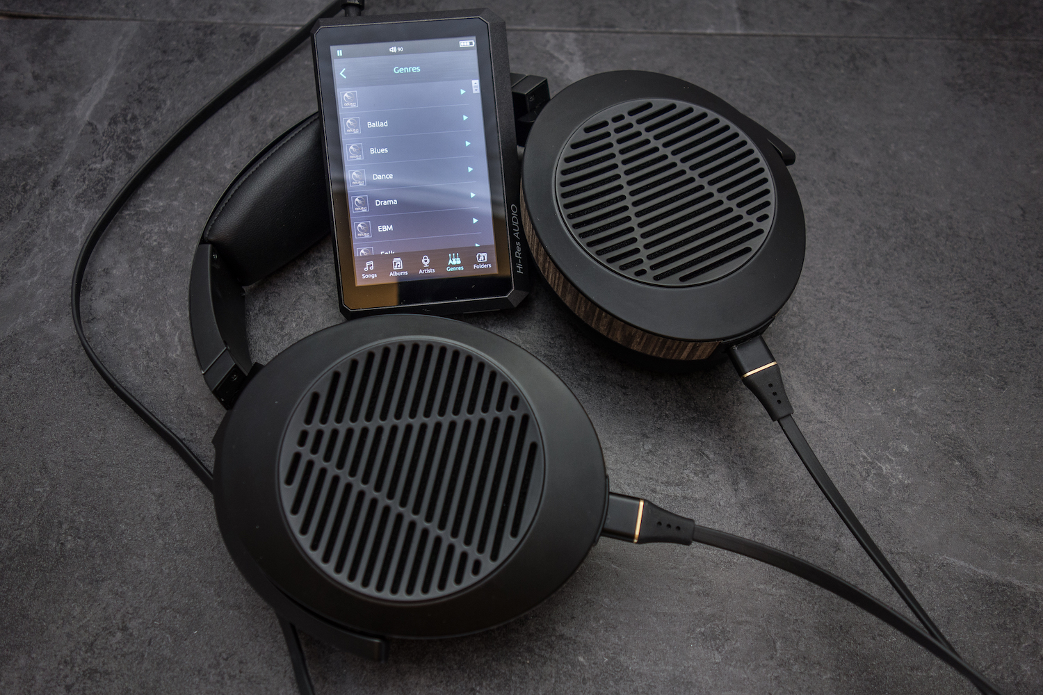 Listening to the Opus#1 high resolution audio player with the Audeze EL-8 audiophile headphones. A potent combo.