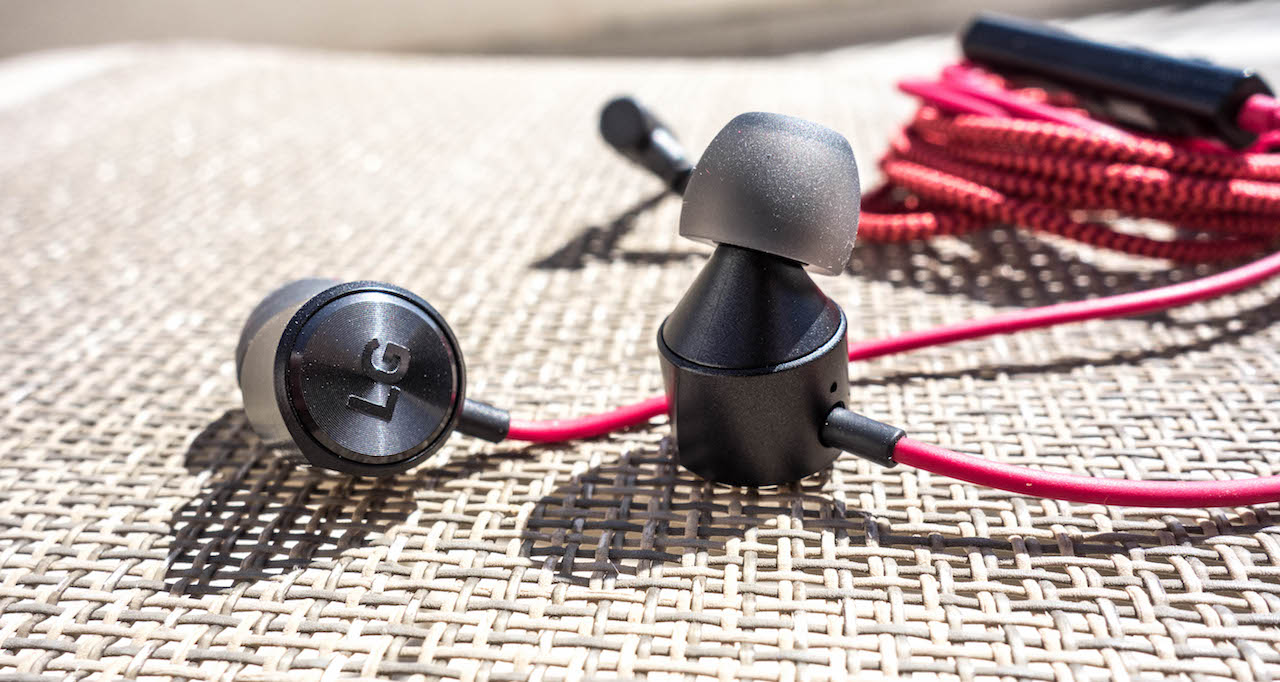 LG Quadbeat 3 dynamic driver earphones in red an black colour combo.